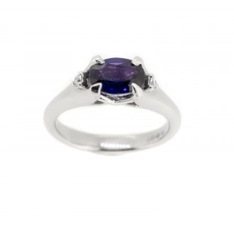 18ct white gold and diamond and purple sapphire trilogy ring